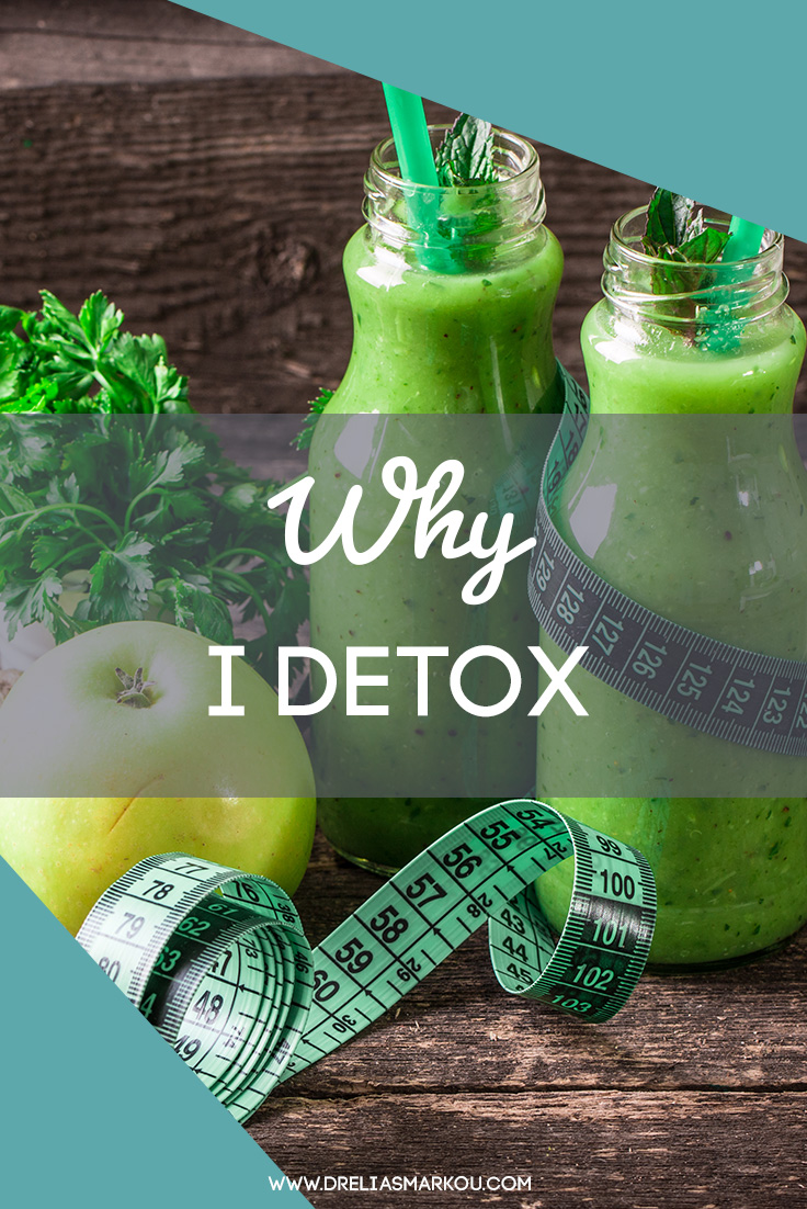 Green Juices, Apple and Tape Measure on a Wood Table - Why I Detox by Dr. Elias Markou, ND - The Detox Coach